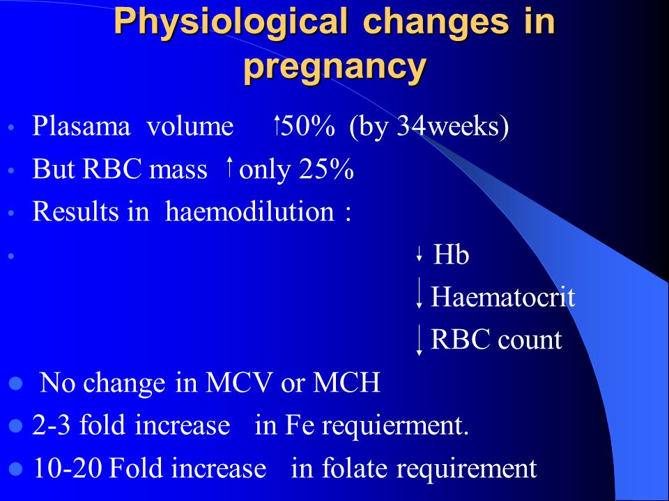 Physiological changes in pregnancy Plasama volume 50% (by 34weeks) But RBC mass only 25% Results in haemodilution : Hb Haematocrit RBC count No change