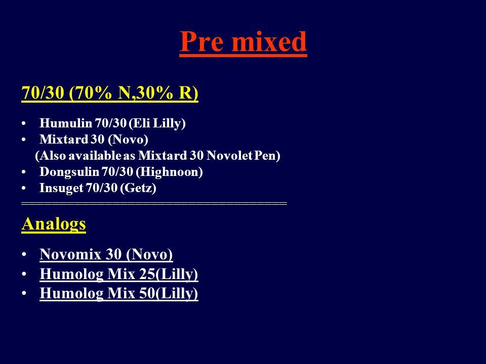 Pre mixed 70/30 (70% N,30% R) Humulin 70/30 (Eli Lilly) Mixtard 30 (Novo) (Also available as Mixtard 30 Novolet Pen) Dongsulin 70/30 (Highnoon) Insuge