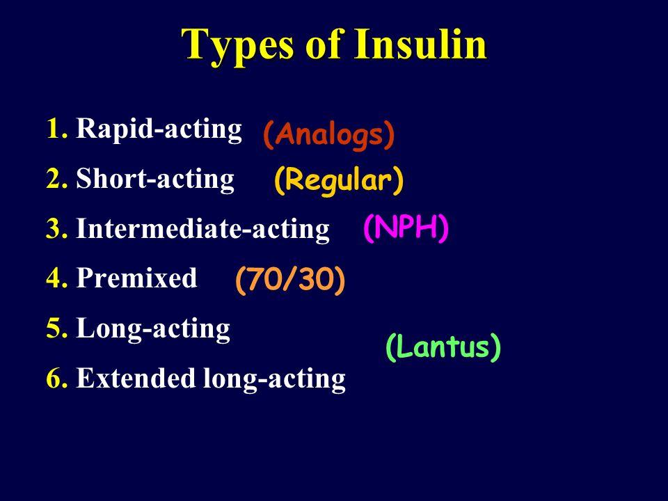 Types of Insulin 1. Rapid-acting 2. Short-acting 3. Intermediate-acting 4. Premixed 5. Long-acting 6. Extended long-acting (Analogs) (Regular) (NPH) (