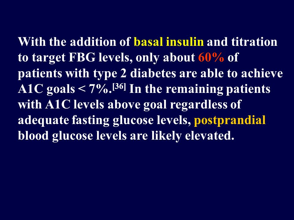 With the addition of basal insulin and titration to target FBG levels, only about 60% of patients with type 2 diabetes are able to achieve A1C goals <