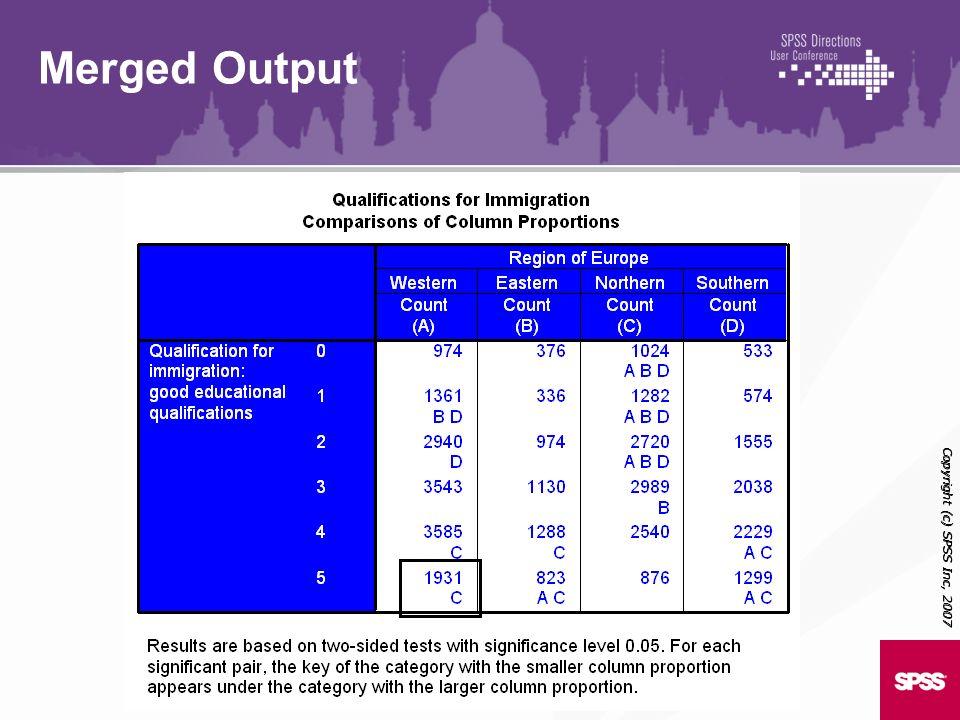 Copyright (c) SPSS Inc, 2007 Merged Output