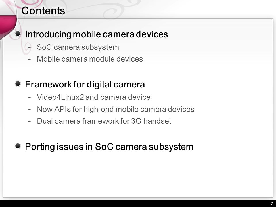 13 Various ways of preview (Live view) in SoC camera subsystems Camera Module MemoryMemory Camera Interface ARM core Frame buffer OK Cancel User Application COPY.