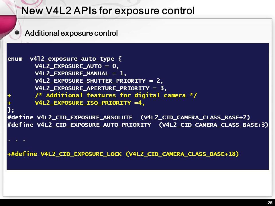 25 Additional exposure control enum v4l2_exposure_auto_type { V4L2_EXPOSURE_AUTO = 0, V4L2_EXPOSURE_MANUAL = 1, V4L2_EXPOSURE_SHUTTER_PRIORITY = 2, V4