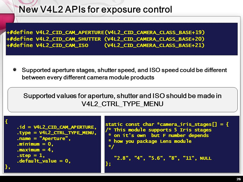26 Supported aperture stages, shutter speed, and ISO speed could be different between every different camera module products +#define V4L2_CID_CAM_APE