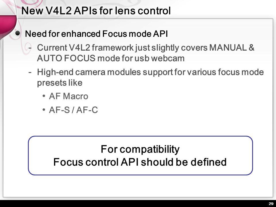 29 Need for enhanced Focus mode API Current V4L2 framework just slightly covers MANUAL & AUTO FOCUS mode for usb webcam High-end camera modules suppor