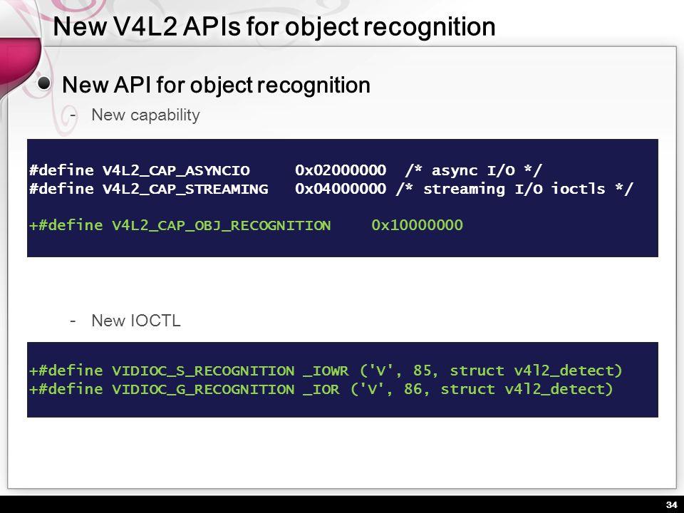 34 New API for object recognition New capability #define V4L2_CAP_ASYNCIO 0x02000000 /* async I/O */ #define V4L2_CAP_STREAMING 0x04000000 /* streamin