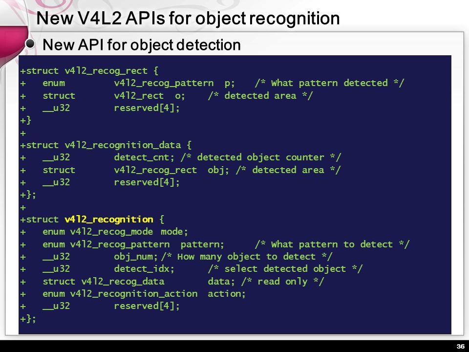 36 +struct v4l2_recog_rect { + enumv4l2_recog_pattern p;/* What pattern detected */ + structv4l2_rect o;/* detected area */ + __u32reserved[4]; +} + +