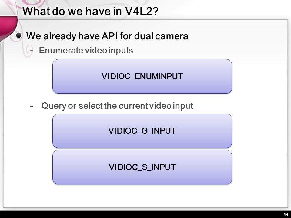 44 We already have API for dual camera Enumerate video inputs Query or select the current video input VIDIOC_ENUMINPUT VIDIOC_G_INPUT VIDIOC_S_INPUT