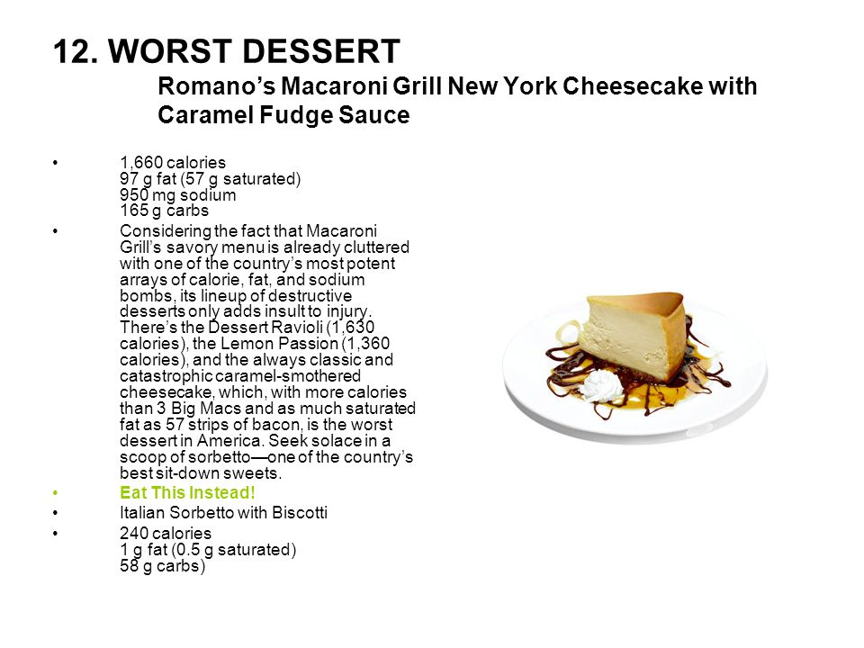 12. WORST DESSERT Romanos Macaroni Grill New York Cheesecake with Caramel Fudge Sauce 1,660 calories 97 g fat (57 g saturated) 950 mg sodium 165 g car