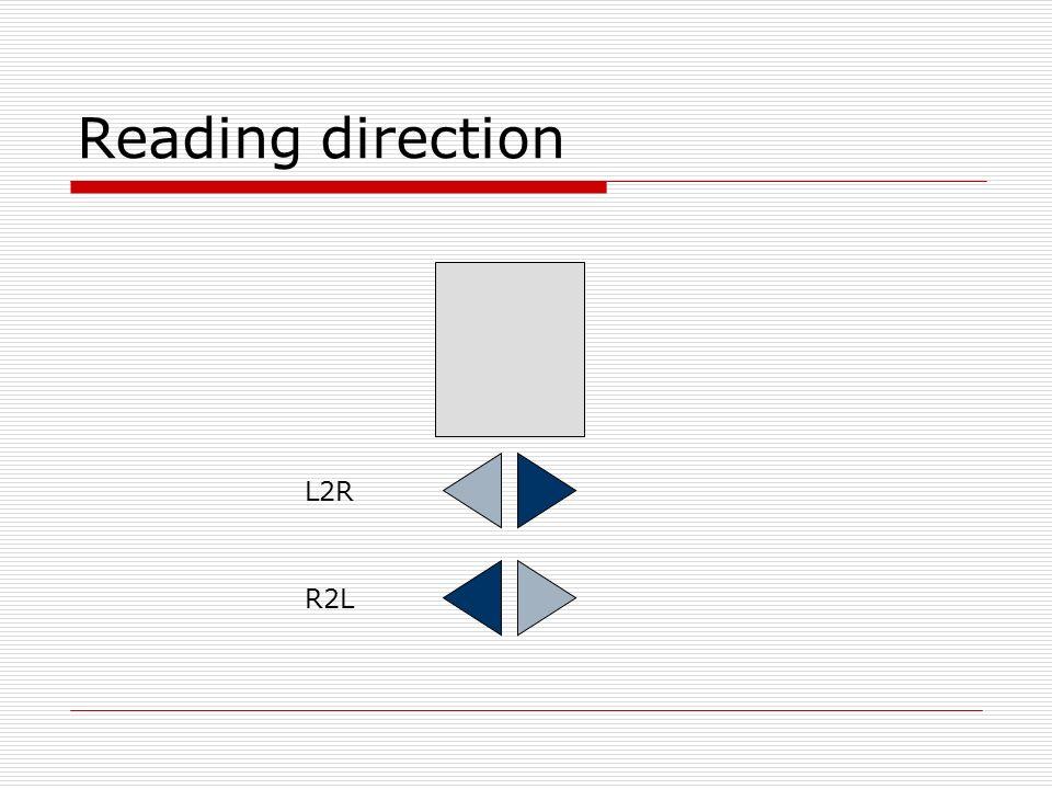 Reading direction L2R R2L