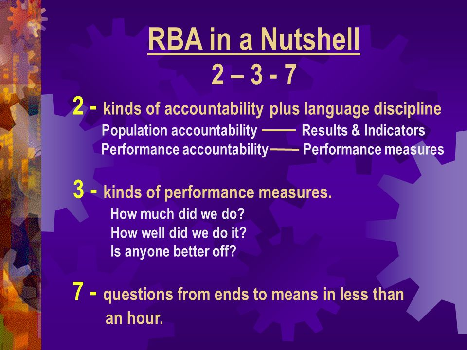 3 - kinds of performance measures. How much did we do? How well did we do it? Is anyone better off? RBA in a Nutshell 2 – 3 - 7 2 - kinds of accountab