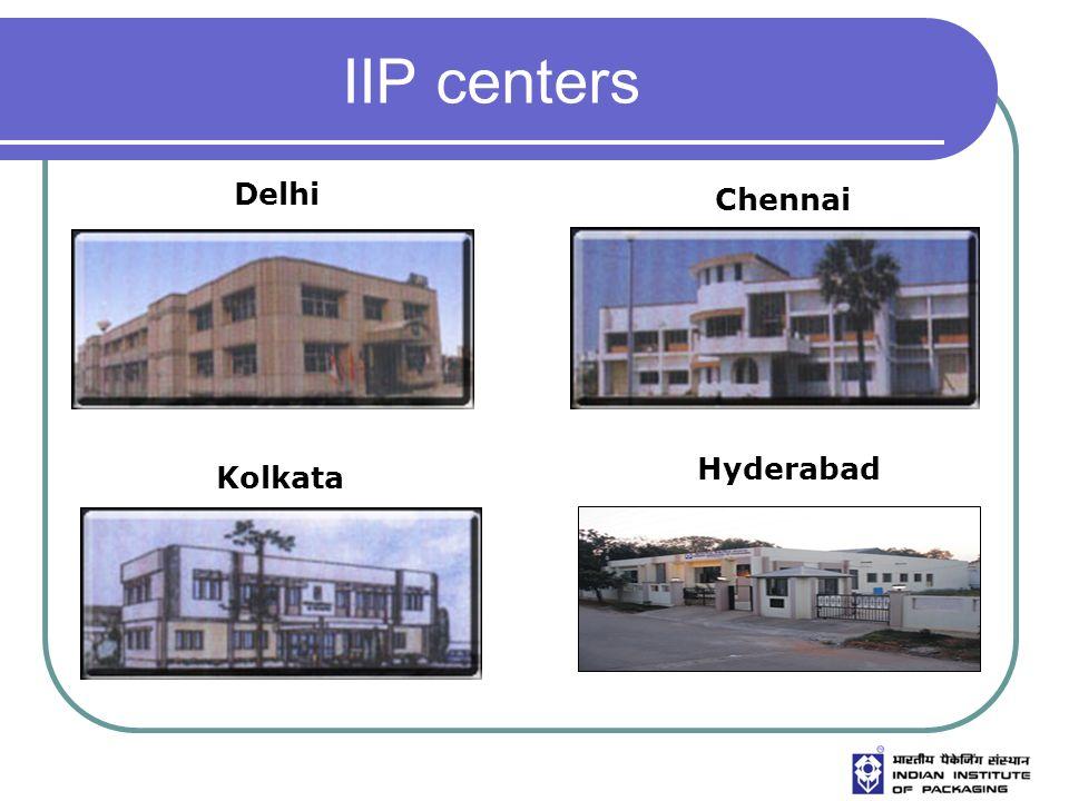 IIP centers Delhi Chennai Kolkata Hyderabad