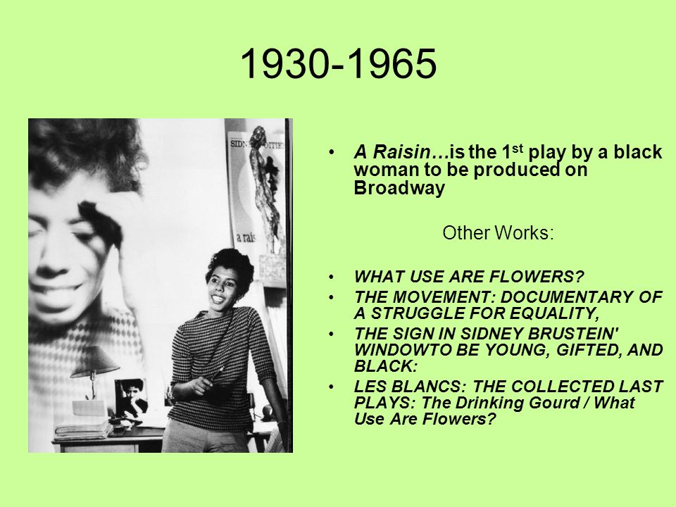 1930-1965 A Raisin…is the 1 st play by a black woman to be produced on Broadway Other Works: WHAT USE ARE FLOWERS? THE MOVEMENT: DOCUMENTARY OF A STRU