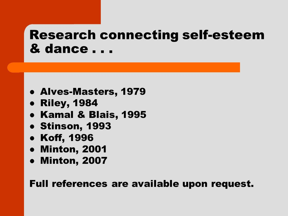 Research connecting self-esteem & dance...