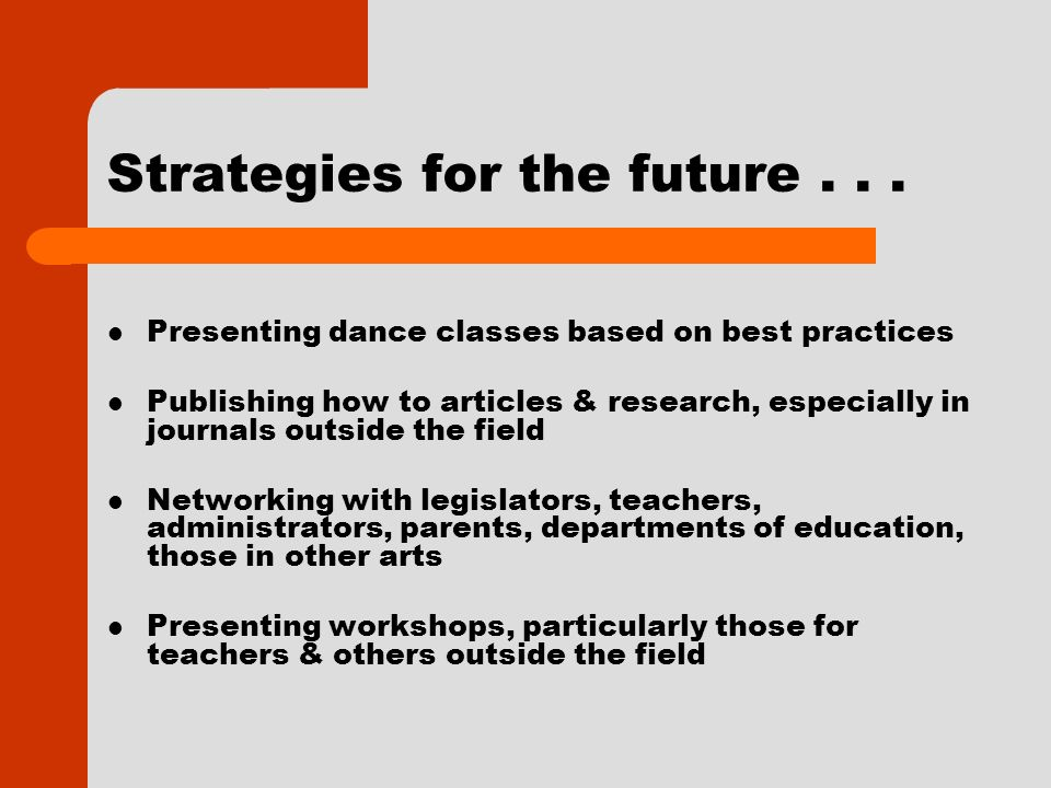 Strategies for the future...