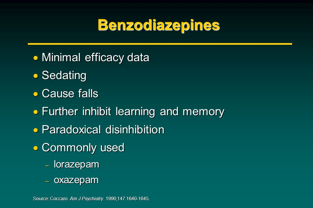 Benzodiazepines Minimal efficacy data Minimal efficacy data Sedating Sedating Cause falls Cause falls Further inhibit learning and memory Further inhi