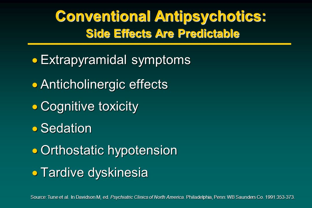 Conventional Antipsychotics: Side Effects Are Predictable Extrapyramidal symptoms Extrapyramidal symptoms Anticholinergic effects Anticholinergic effe