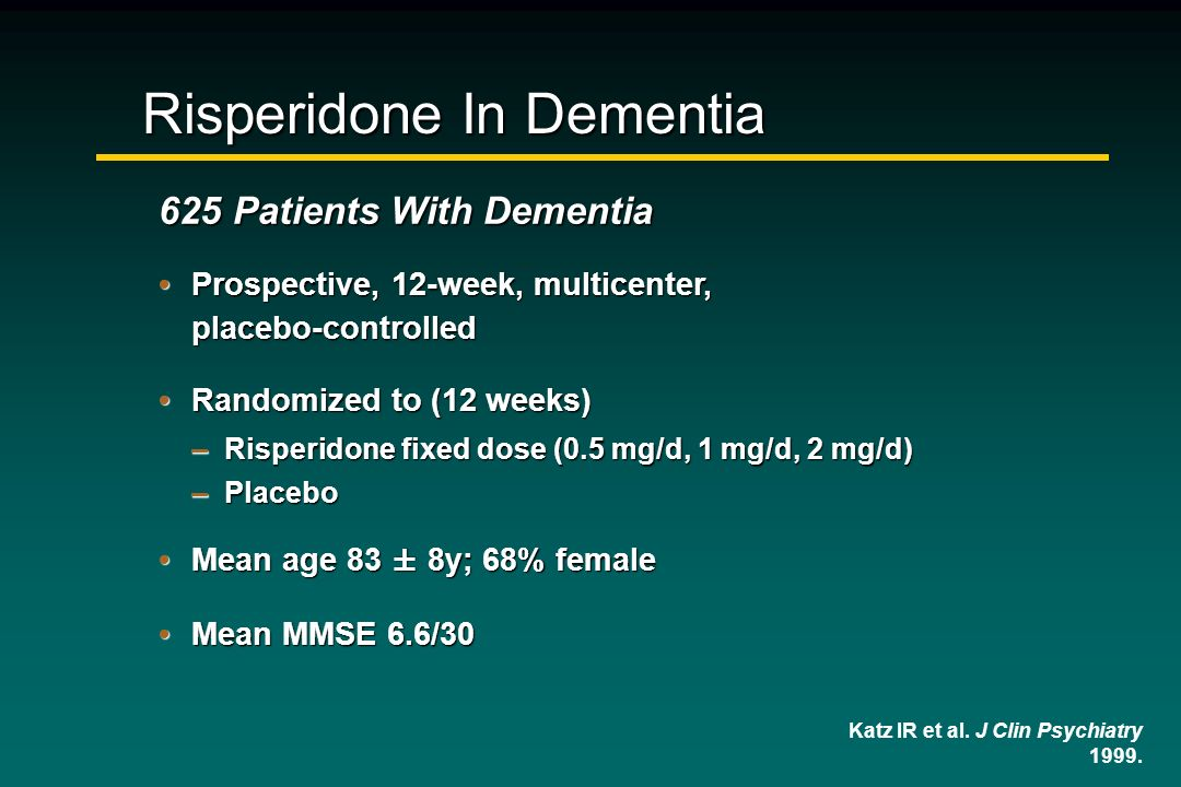 Risperidone In Dementia 625 Patients With Dementia Prospective, 12-week, multicenter, placebo-controlledProspective, 12-week, multicenter, placebo-con