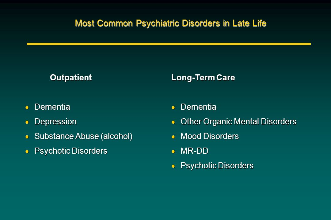 Most Common Psychiatric Disorders in Late Life Outpatient Outpatient Dementia Dementia Depression Depression Substance Abuse (alcohol) Substance Abuse