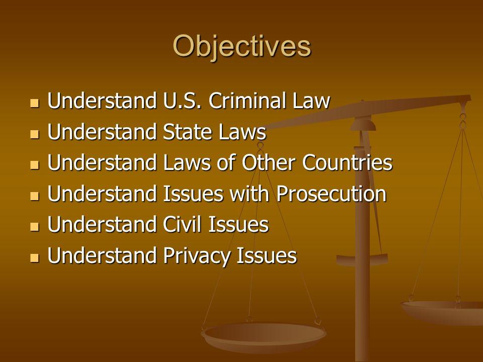 Objectives Understand U.S. Criminal Law Understand U.S. Criminal Law Understand State Laws Understand State Laws Understand Laws of Other Countries Un