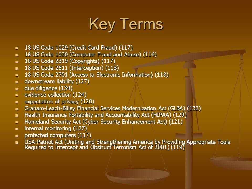 Key Terms 18 US Code 1029 (Credit Card Fraud) (117) 18 US Code 1029 (Credit Card Fraud) (117) 18 US Code 1030 (Computer Fraud and Abuse) (116) 18 US C