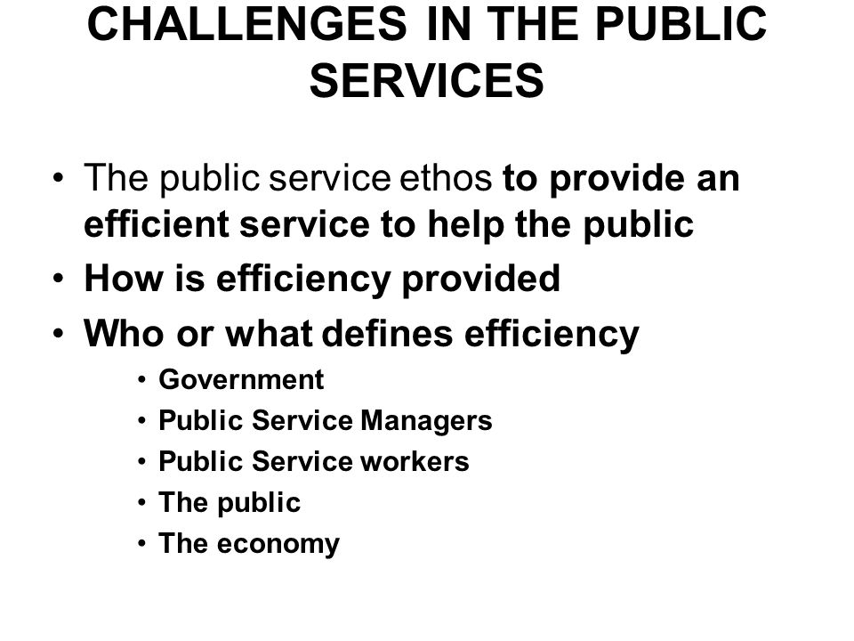 CHALLENGES IN THE PUBLIC SERVICES The public service ethos to provide an efficient service to help the public How is efficiency provided Who or what defines efficiency Government Public Service Managers Public Service workers The public The economy