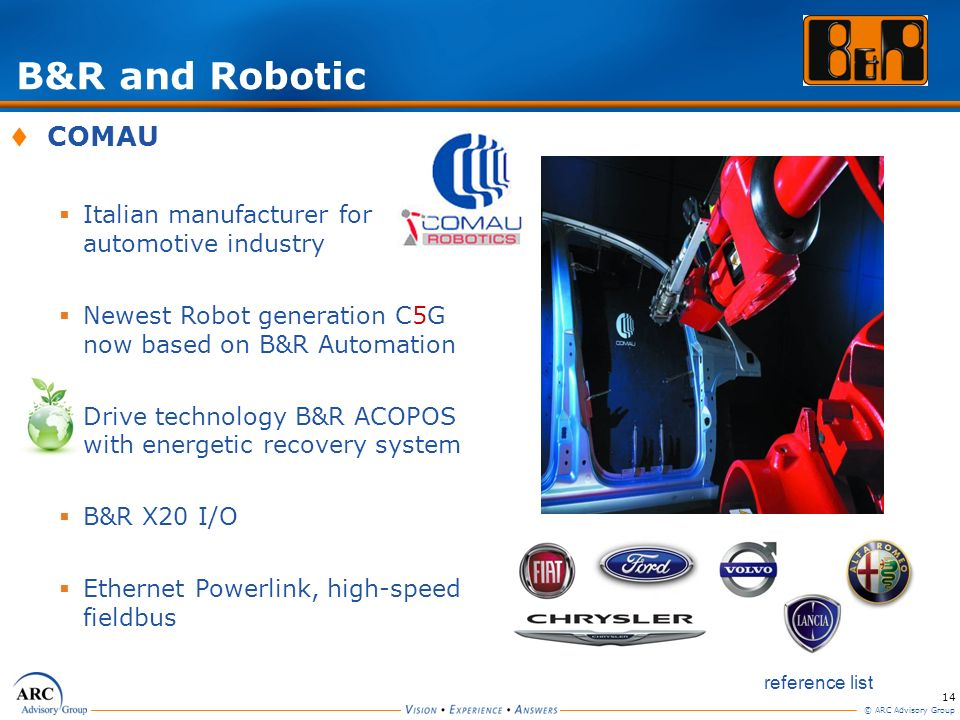 14 © ARC Advisory Group COMAU Italian manufacturer for automotive industry Newest Robot generation C5G now based on B&R Automation Drive technology B&