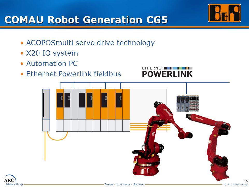 15 © ARC Advisory Group ACOPOSmulti servo drive technology X20 IO system Automation PC Ethernet Powerlink fieldbus COMAU Robot Generation CG5