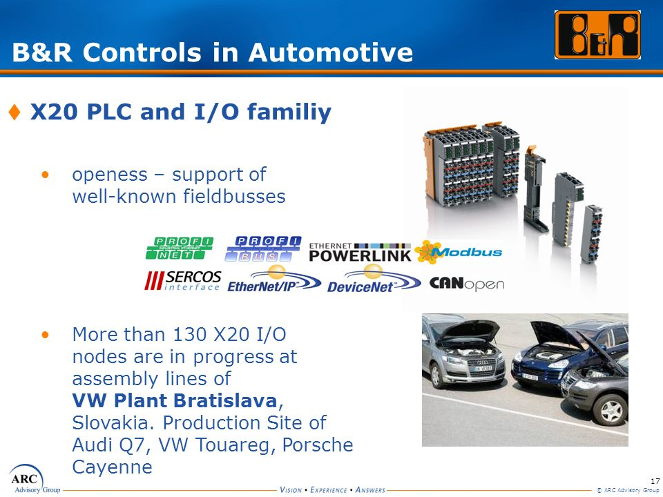 17 © ARC Advisory Group B&R Controls in Automotive X20 PLC and I/O familiy openess – support of well-known fieldbusses More than 130 X20 I/O nodes are