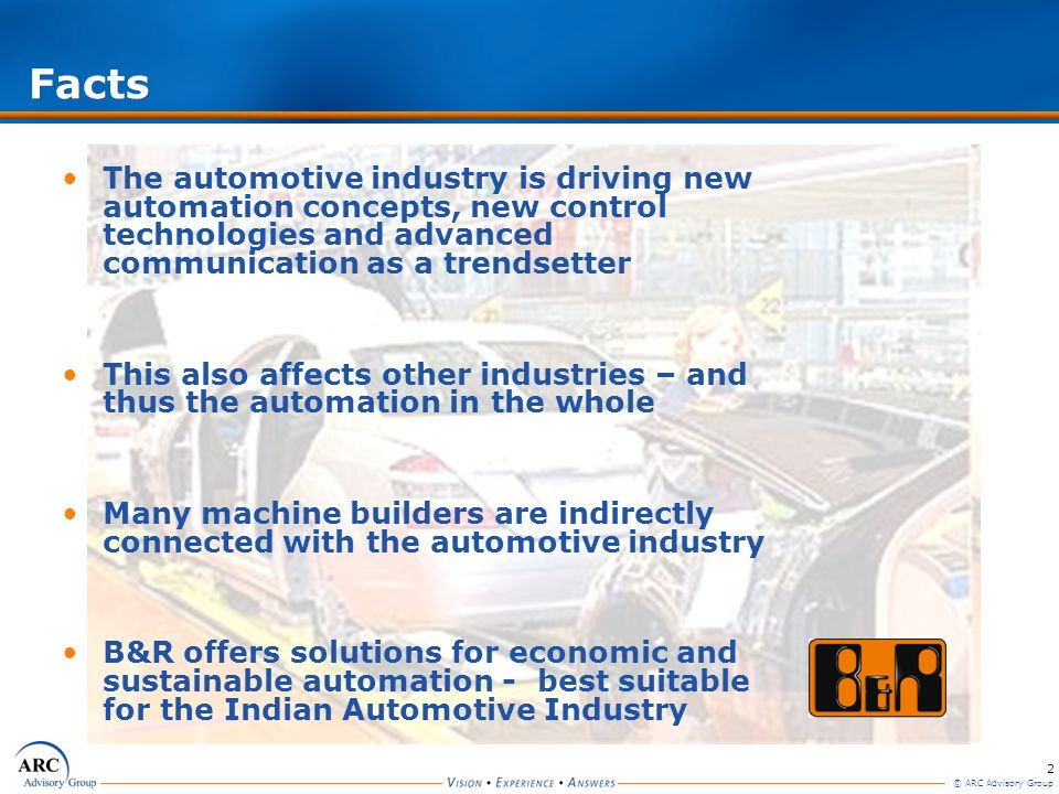 2 © ARC Advisory Group Facts The automotive industry is driving new automation concepts, new control technologies and advanced communication as a tren