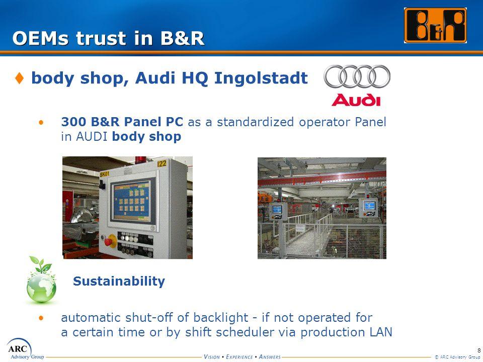 8 © ARC Advisory Group OEMs trust in B&R body shop, Audi HQ Ingolstadt 300 B&R Panel PC as a standardized operator Panel in AUDI body shop Sustainabil