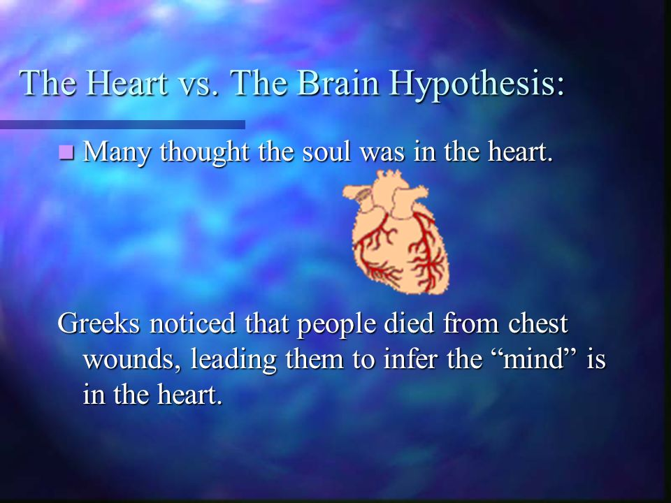 The Heart vs. The Brain Hypothesis: Many thought the soul was in the heart.