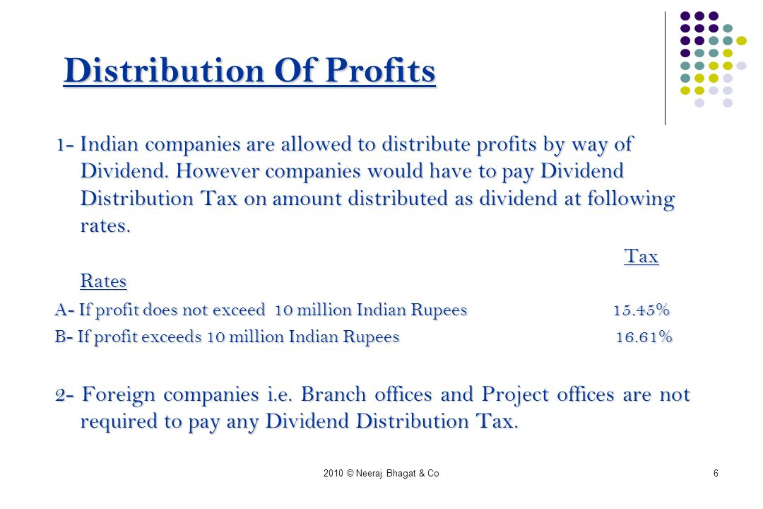 2010 © Neeraj Bhagat & Co6 Distribution Of Profits 1- Indian companies are allowed to distribute profits by way of Dividend.