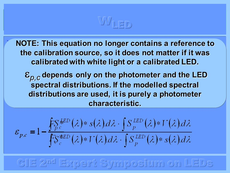 The error when measuring an LED at wavelength p using the F c * value at wavelength c is: The error when measuring an LED at wavelength p using the F