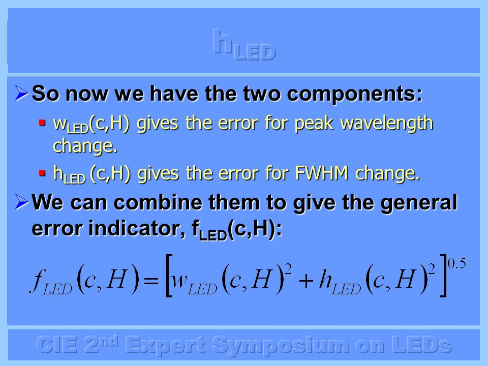 So now we have the two components: So now we have the two components: w LED (c,H) gives the error for peak wavelength change. w LED (c,H) gives the er