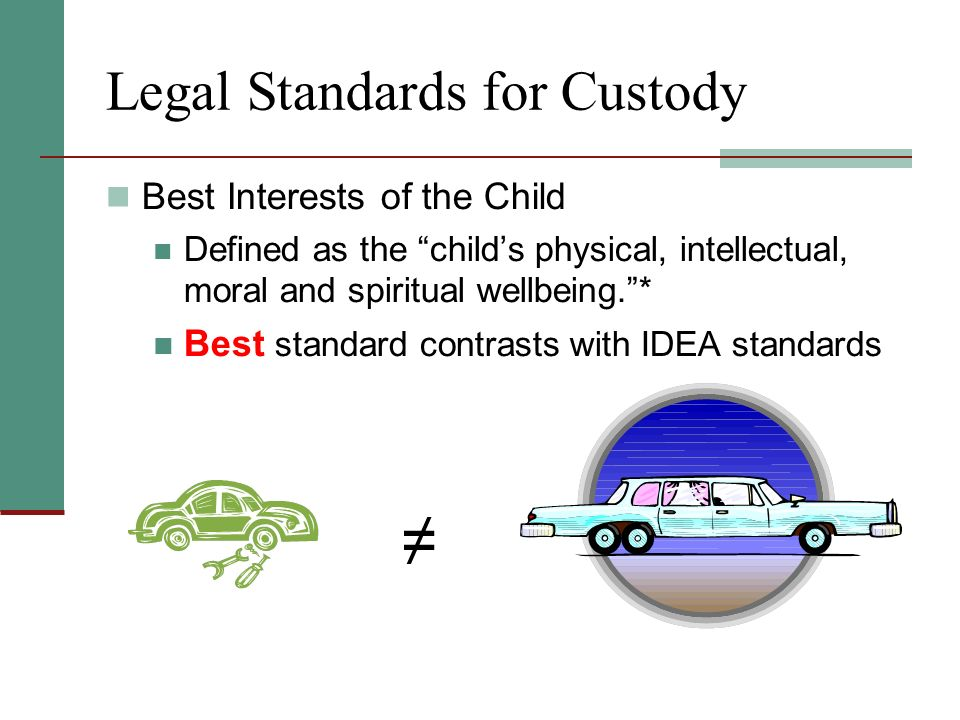 Legal Standards for Custody Best Interests of the Child Defined as the childs physical, intellectual, moral and spiritual wellbeing.* Best standard contrasts with IDEA standards