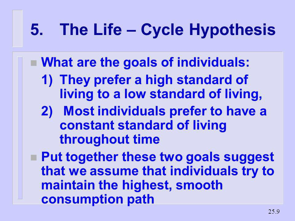 25.8 Savings occur during middle age and dissaving in youth and old age. 5.The Life - Cycle Hypothesis A theory of consumption developed by Ando and M