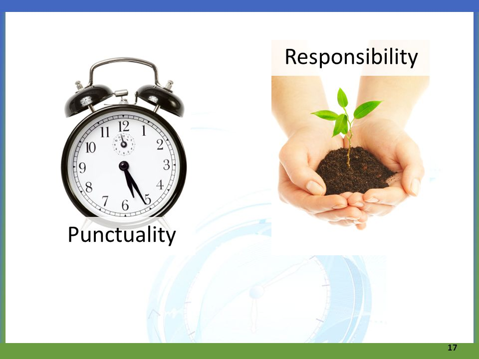 Punctuality 17 Responsibility