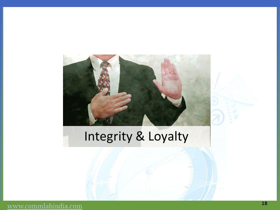 Integrity & Loyalty 18 www.commlabindia.com
