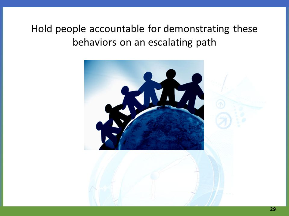 Hold people accountable for demonstrating these behaviors on an escalating path 29