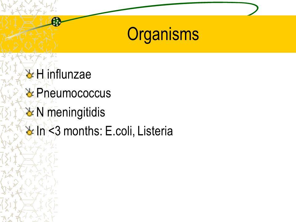 Organisms H influnzae Pneumococcus N meningitidis In <3 months: E.coli, Listeria