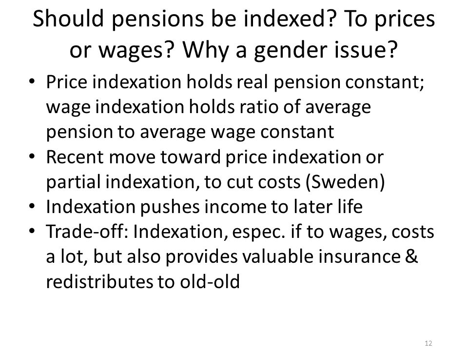 Should pensions be indexed. To prices or wages. Why a gender issue.