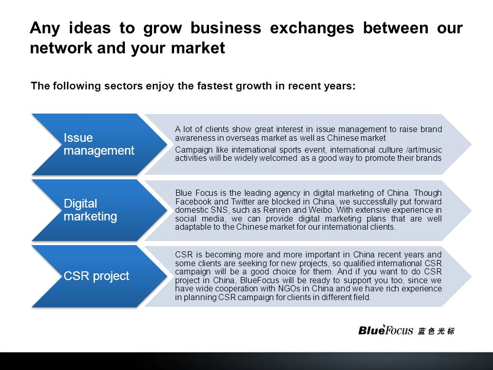 Any ideas to grow business exchanges between our network and your market The following sectors enjoy the fastest growth in recent years: Issue management A lot of clients show great interest in issue management to raise brand awareness in overseas market as well as Chinese market Campaign like international sports event, international culture /art/music activities will be widely welcomed as a good way to promote their brands Digital marketing Blue Focus is the leading agency in digital marketing of China.