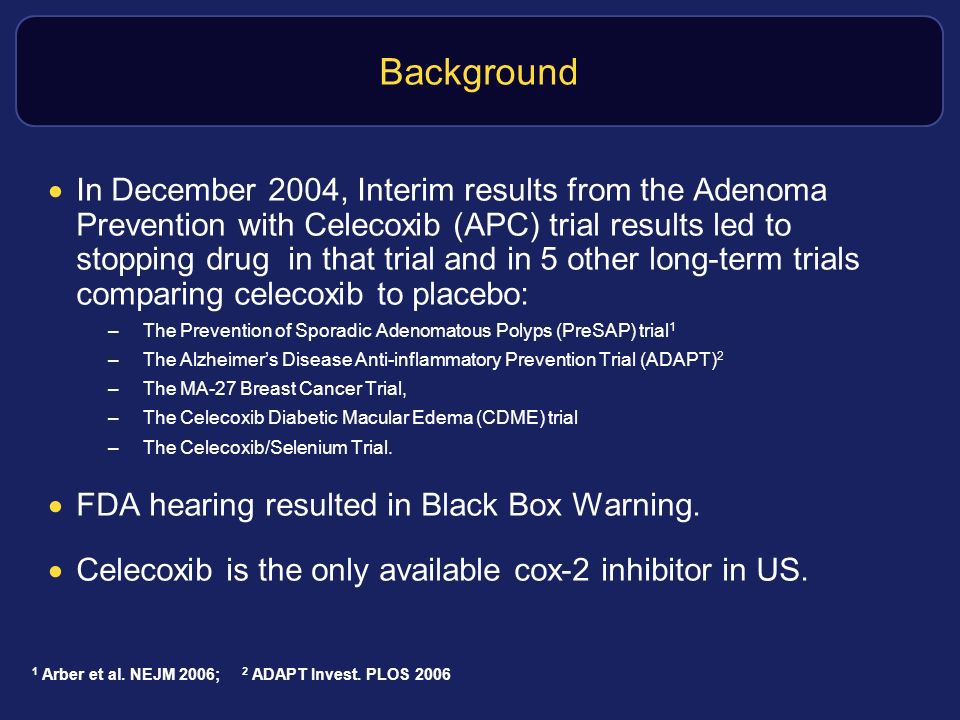 Background In December 2004, Interim results from the Adenoma Prevention with Celecoxib (APC) trial results led to stopping drug in that trial and in