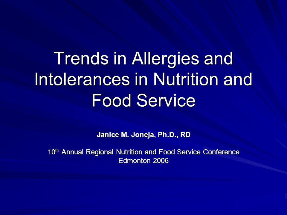 2 Progress in the Past 5 Years Nearly 4% of North Americans have food allergies, many more than recorded in the past –Incidence of food allergy much higher in children than adults (>8% compared to 8% compared to <2%) Prevalence of peanut allergy doubled in American children younger than 5 years of age in the past 5 years Incidence of food intolerances estimated to be up to 50% of the population, but accurate figures are not available because of the lack of appropriate tests –Incidence of food intolerances much higher in adults than in children Many food allergens have been characterized at the molecular level, leading to increased understanding of the causes of many allergic disorders