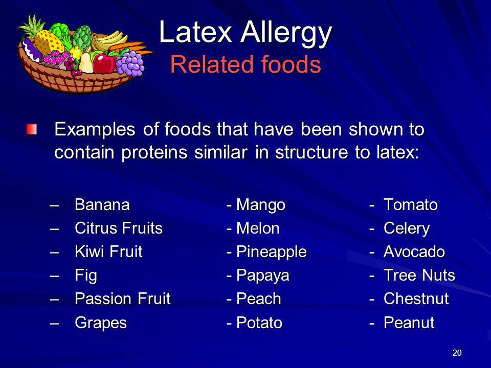 21 Common allergens in unrelated plant materials: Summary OAS and latex allergy are examples of conditions in which common antigens, expressed in botanically unrelated plants, are capable of eliciting a hypersensitivity reaction In practice, when a specific plant food elicits an allergic response, foods in the same botanic family rarely elicit allergy