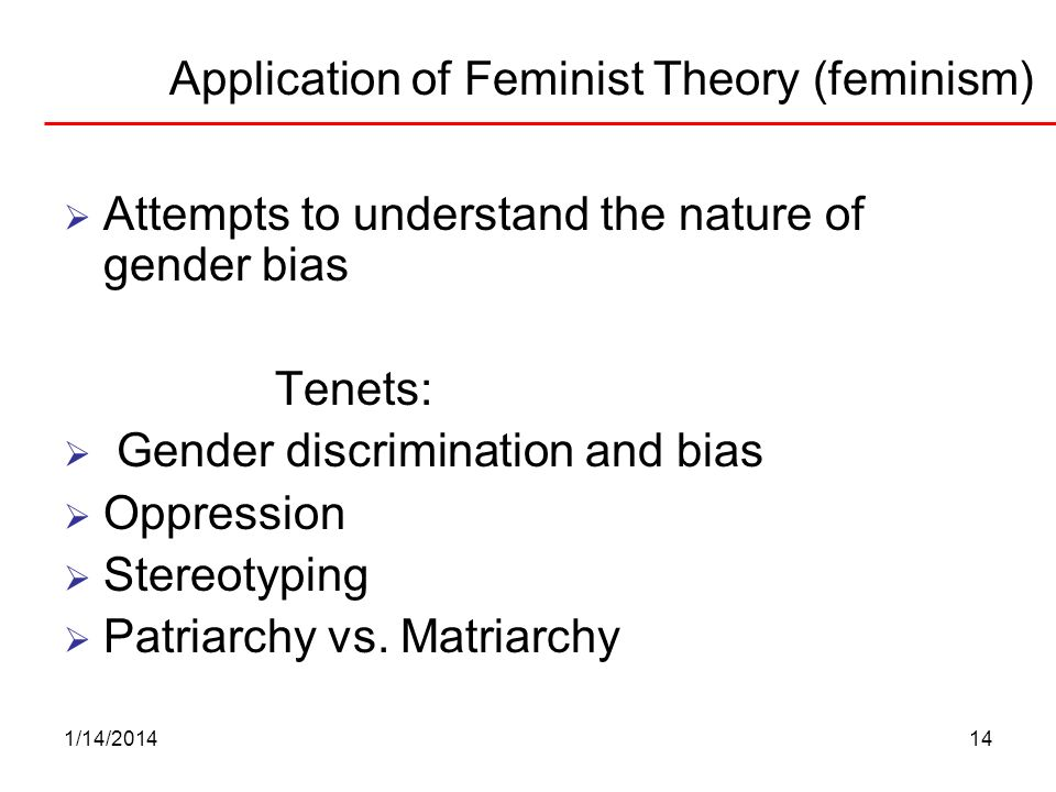 1/14/201414 Application of Feminist Theory (feminism) Attempts to understand the nature of gender bias Tenets: Gender discrimination and bias Oppressi
