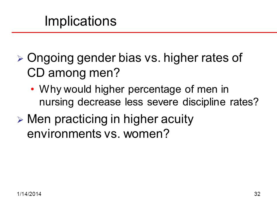 1/14/201432 Implications Ongoing gender bias vs. higher rates of CD among men? Why would higher percentage of men in nursing decrease less severe disc