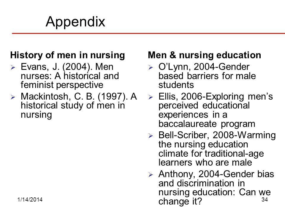 1/14/201434 Appendix History of men in nursing Evans, J. (2004). Men nurses: A historical and feminist perspective Mackintosh, C. B. (1997). A histori