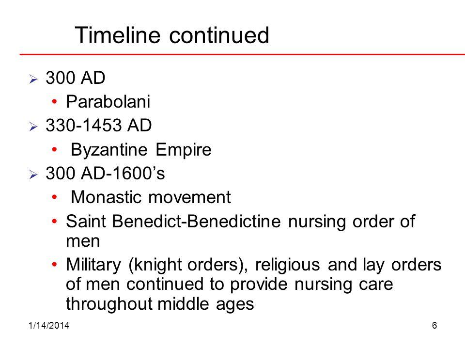 1/14/20146 Timeline continued 300 AD Parabolani 330-1453 AD Byzantine Empire 300 AD-1600s Monastic movement Saint Benedict-Benedictine nursing order o